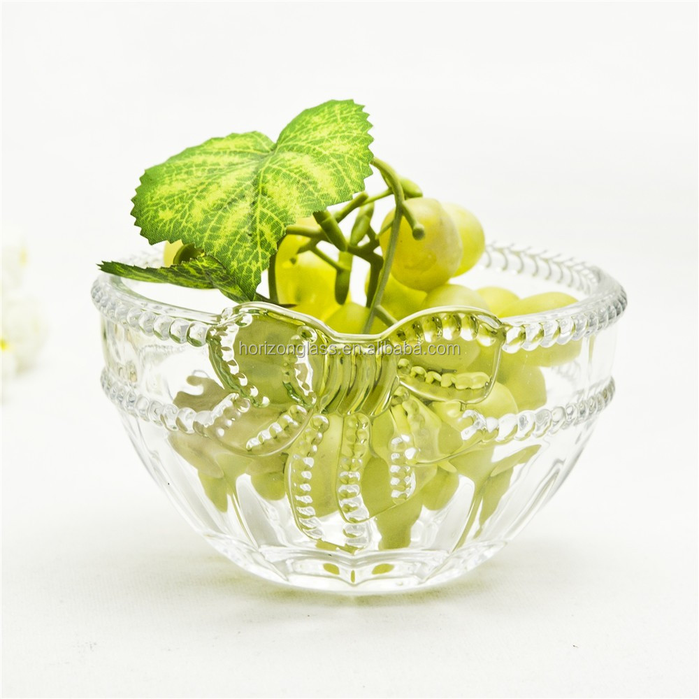 Glass clear candy bowl with bow tie for Christmas