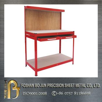Custom Red Steel Garage Toolbox Storage Working Bench
