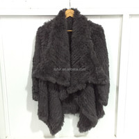 new fashion girl's irregular rabbit fur knitting coat with big collar oversize fur knitting coat