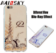 "HAISSKY Soft TPU Phone Back Cover Case ,Blu-ray IMD Cases For iPhone 6 6s Plus 5.5"" Floral Eiffel Tower"