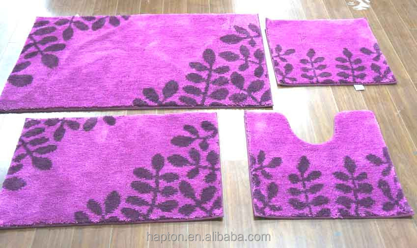 microfiber 4pcs set leaf design bath anti slip rubber shower mat