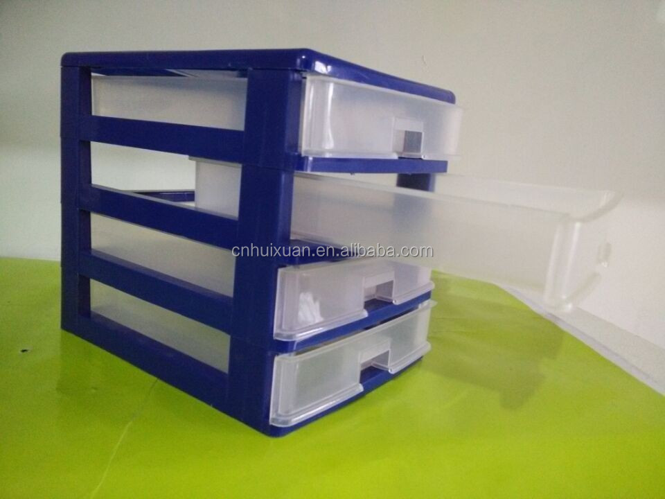4 Tier Desktop Mini Stackable Plastic Storage Drawers
