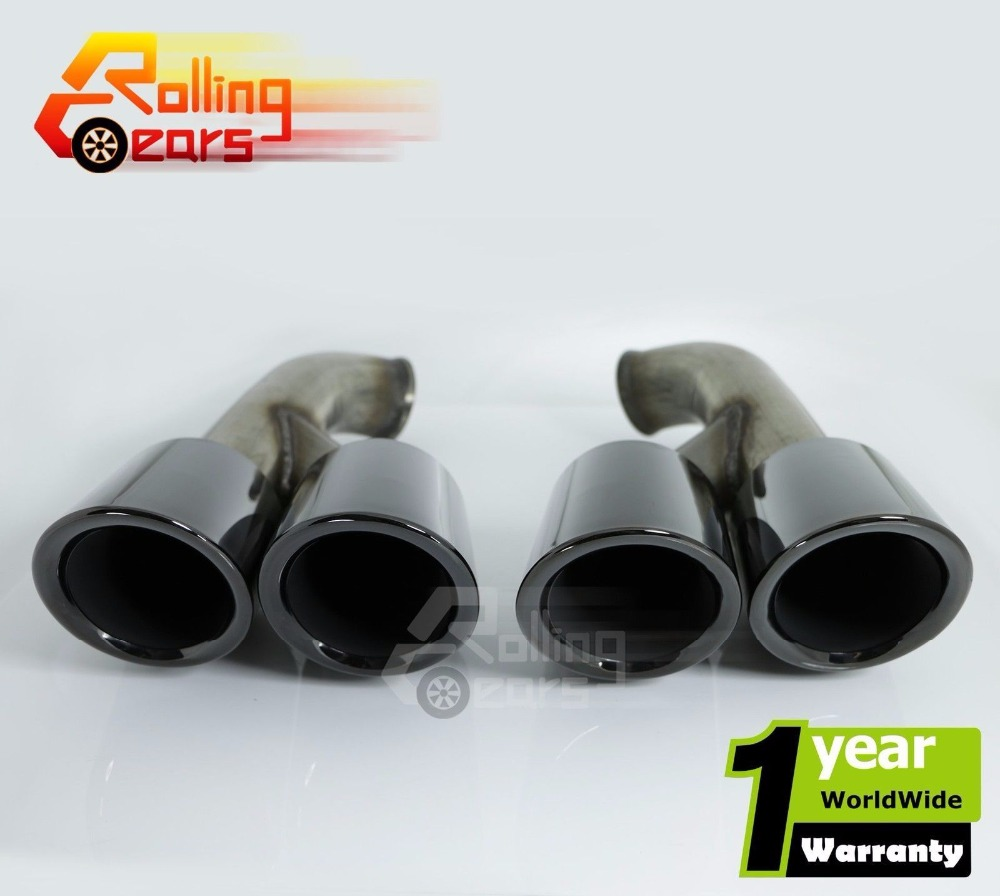 2015 2016 For Porsche Cayenne Turbo S 958 V8 Style Black Quad Exhaust Pipes Tips Muffler