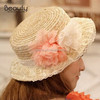 2014 Fashionable Ladies' Paper Straw Hat with Flower