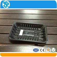 plastic black rectangular biodegradable meat tray for food