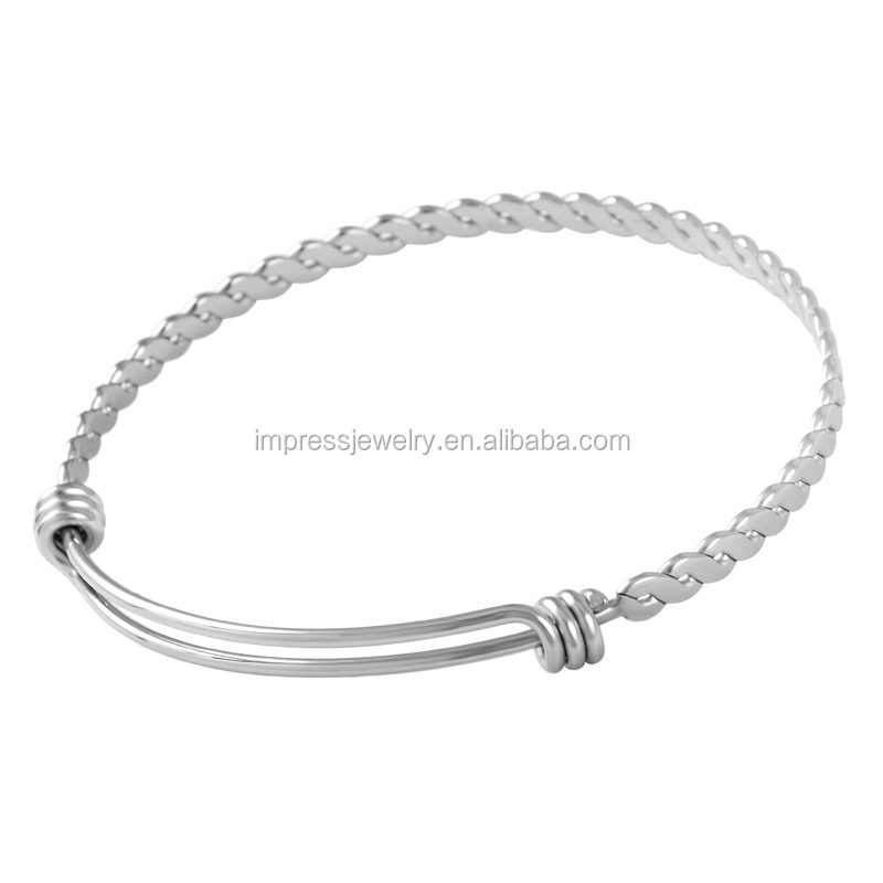 IJD0273 Factory Cheap Wholesale DIY charm Twisted wire bangle Adjustable 316L stainless steel expandable bracelet for women