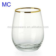 Hand blown clear water glass with gold rim