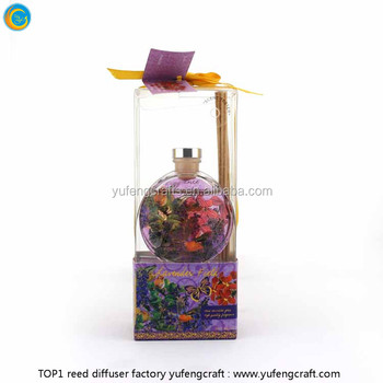 PVC packaging small size perfumed reed diffuser nature wood made