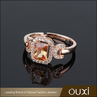 OUXI 2016 Good Looking Rose Gold Zircon Silver Wedding Ring