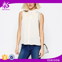 2017 Guangzhou Shandao Hot Selling Women Fashion Summer Sleeveless Stand Collar White Breathable Cotton New Model Neck Blouses