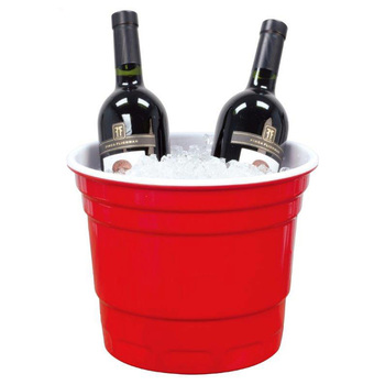 Plastic Round Wine Bucket , Double Color Ice Beer Bucket