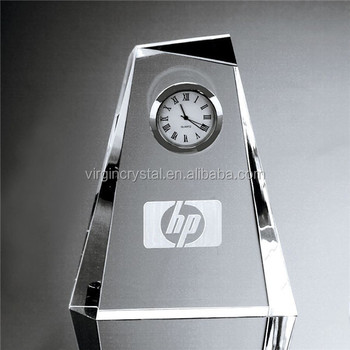 Wholesale Custom design Blank Clear 3d Laser Engraved Crystal Desk Clock for Office decoration
