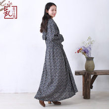 2017 Autumn Linen Loose Long Sleeve Hooded Casual Long Kaftan Dress