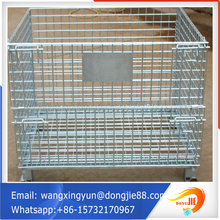 Decorative sturdy metal collapsible wire mesh container/rolling metal storage cage