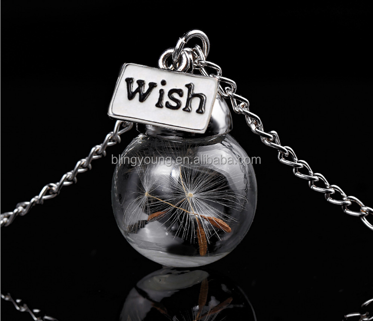 Newest design real dandelion seeds wish glass orb necklace