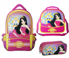 new design pink polyester backpack set for teenager; rosa mochila , lunch bag and pencil case sets