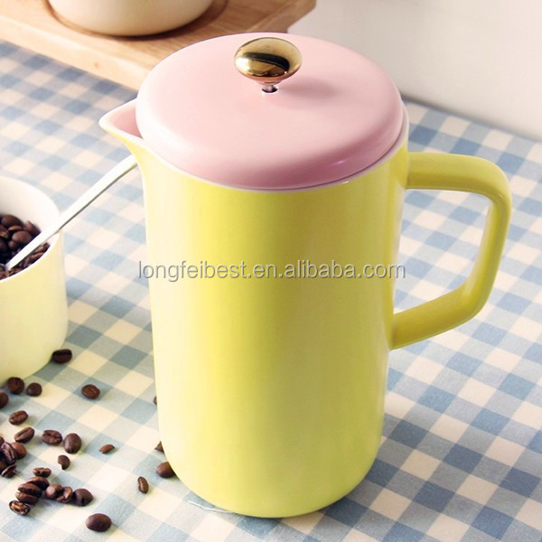 New Item Ceramic/Porcelain Coffee Maker, 1000ML Ceramic French Coffee press, Plunger