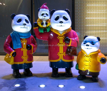 Resin cartoon animal happy family of four pandas statue modern arts