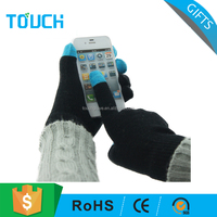 Acrylic Touch Screen Gloves Knitted Five Finger Plain Gloves