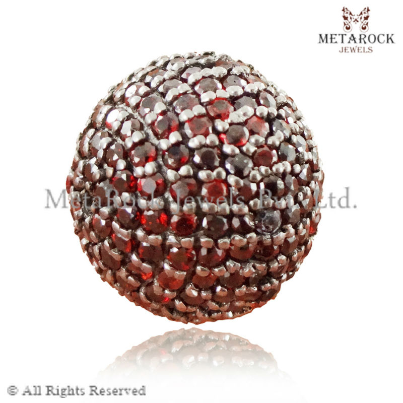 Pave Setting Red Garnet Gemstone Finding, Ball Beads jewelry making supplies, handmade finding, Wholesale Silver Finding