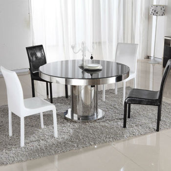 round shape tempered glass dining table