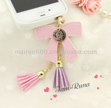 free shipping Bow tassels cute accessories plug for cell phone with lovely charm (XT-066)
