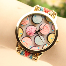 Personalized Ice Cream Ladies Fashion Braided Watch Design
