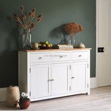 Scandinavian modern living room white wash oak sideboard