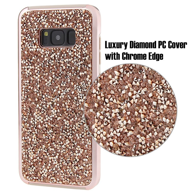 Bling electroplating cell phone case for samsung S8 mobile accessories stand case 2 in 1 hard cover for galaxy S8 plus