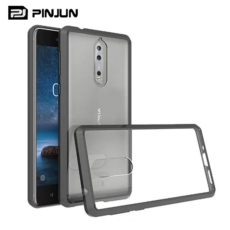 transparent shockproof tpu acrylic hybrid back case for nokia 8 cover