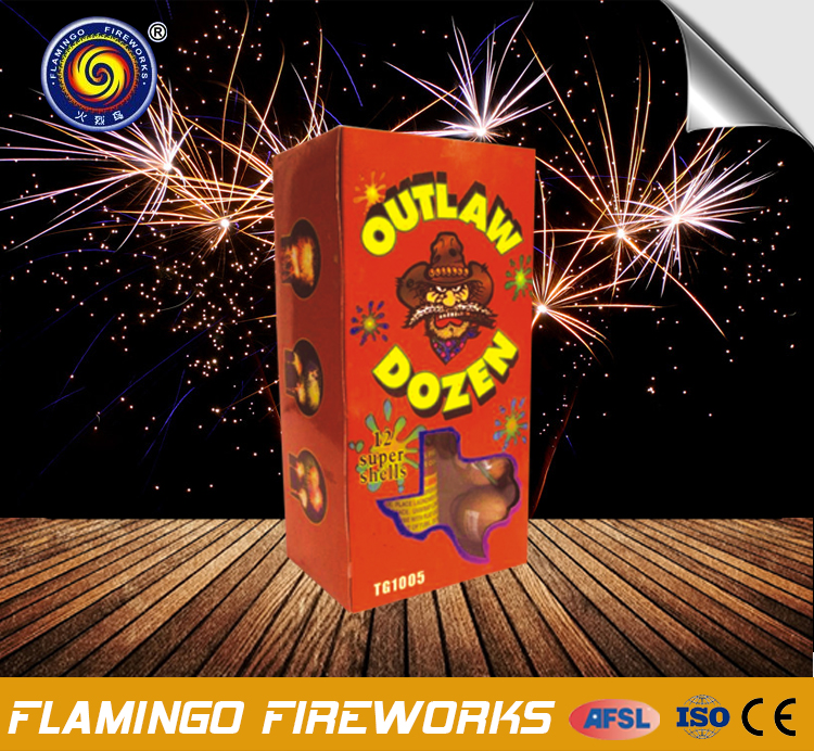 "Hot sale brands Outlaw Dozen 1.25"" fireworks shell"