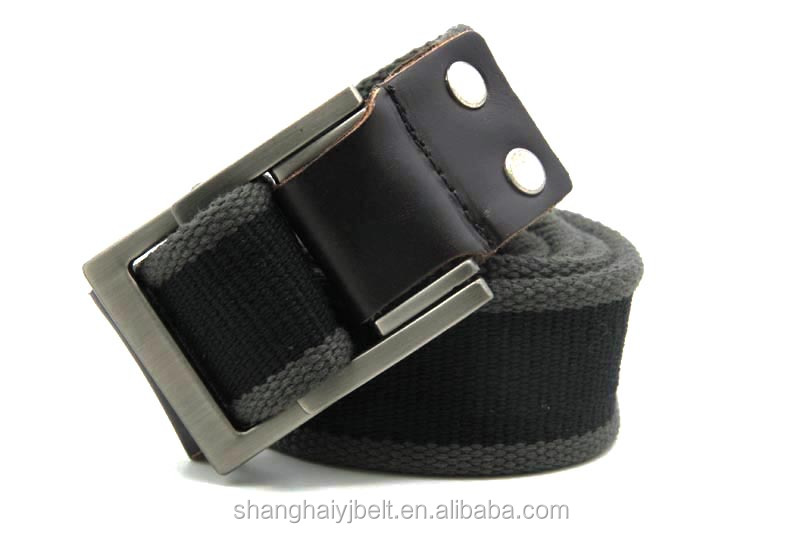 Men's quality square ring buckle canvas belt