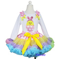 2014 Pink Polka Dots Rainbow Pettiskirt Easter Bunny Chick White Long Sleeves Top 1-7Y