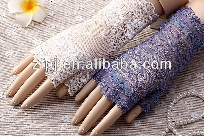 Ladies driver prevented bask in uv protection short lace fingerless gloves