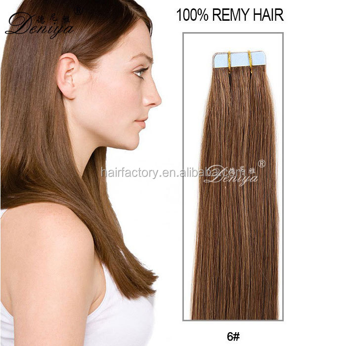 Deniya double drawn factory price 100% remy hair tape hair extension skin weft tape in wefts