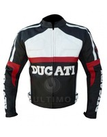 Black and White Ducati Motorcycle Leather Jacket