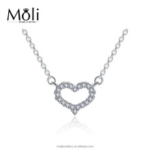 Sweet Heart Micro Zircon White Gold Plating S925 Sterling Silver Pendant Necklace Fashion Jewelry with Fast Short Delivery