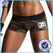Yihao 2015 high quality women sexy tight gym sublimation printed camo shorts custom mini sport shorts with elastic waistband