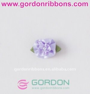 satin ribbon flower bow with pearl for decorartion