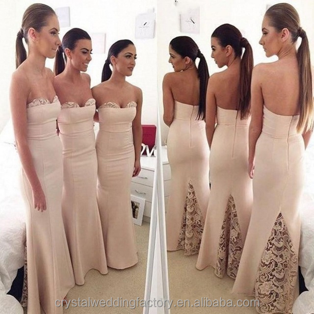 Wholesale Good Quality New Cheap Lace formal Long Sheath Mermaid Bridesmaid Dress With Long Trial LB29