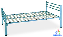 Low price single steel bed frame twin size wood slatted metal bed wholesale