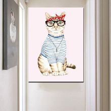 Cool Cat Clothes Animal Watercolor Print Canvas Painting Wall Decor Canvas Art Picture