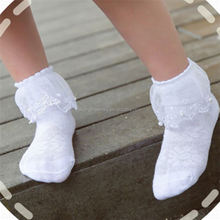 Foot arch care support compression soft daily wear flounce decorating lace ankle children socks