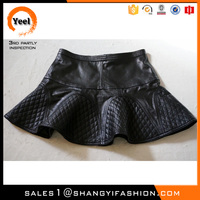 YEEL New Arrival popular fashion short A-line mature woman leather mini skirt