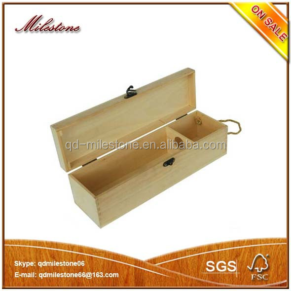 Single Bottle Wood Wine Box Carrier Crate Case Best Gift Decor 35*10*10cm