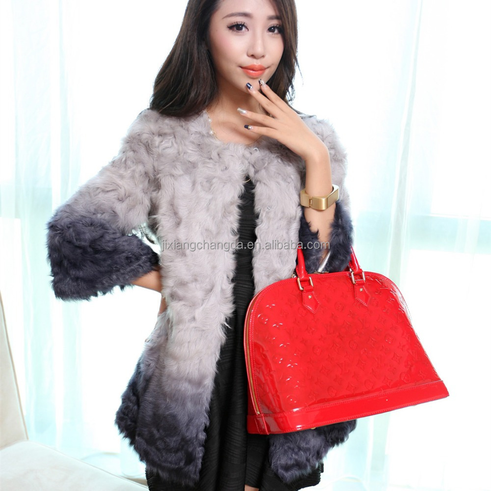 2017 Toscana style persian lamb skin parka fur coats with gradient color of womens clothes