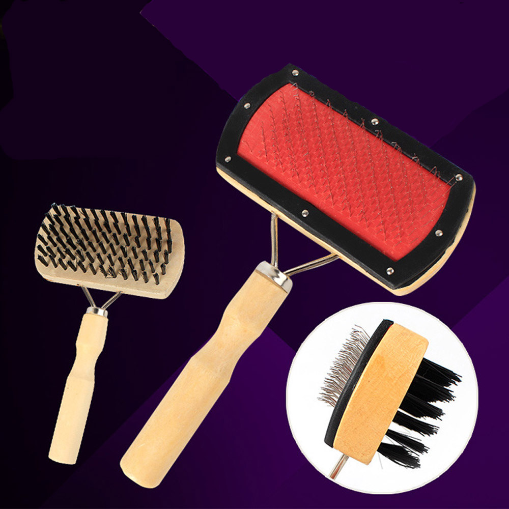 2018 trending pets products Double Sided wooden dog long hair pet grooming brush