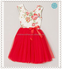 Girls Summer Boutique Red Dress Wholesale Children Print Flower Tulle Dress