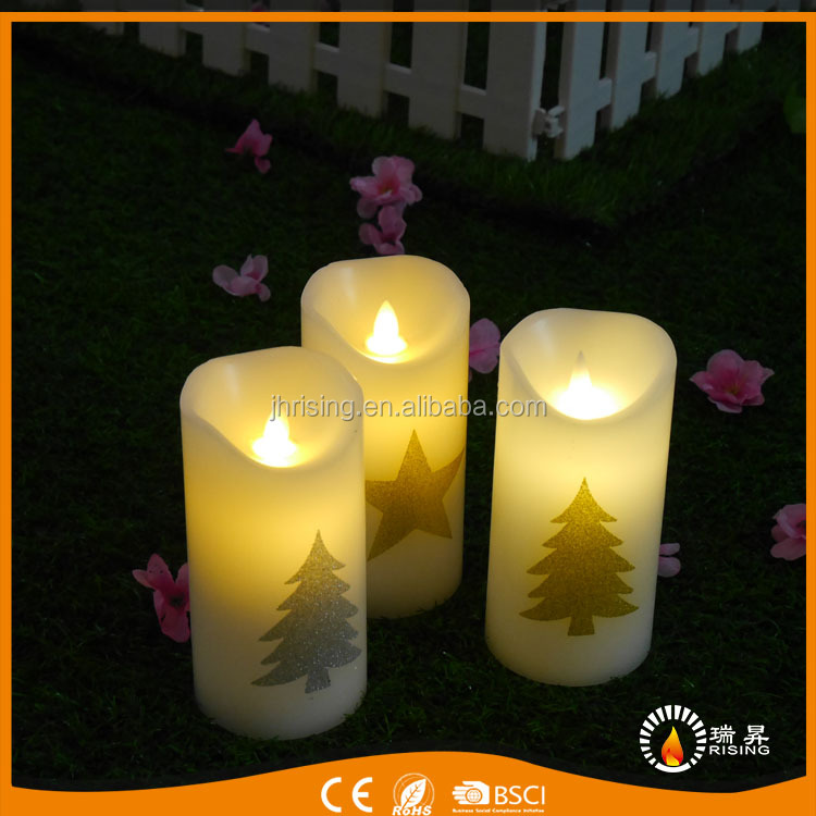 Wholesale gold glitter sticker candles flickering wax Christmas tree sticker led candle