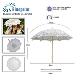 hot selling guangzhou supplier handmade wedding white lace parasol cotton umbrella